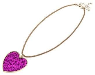 Adele Marie Base Metal Snake Chain Dark Pink Glitter Heart Charm Necklet of 49.5cm