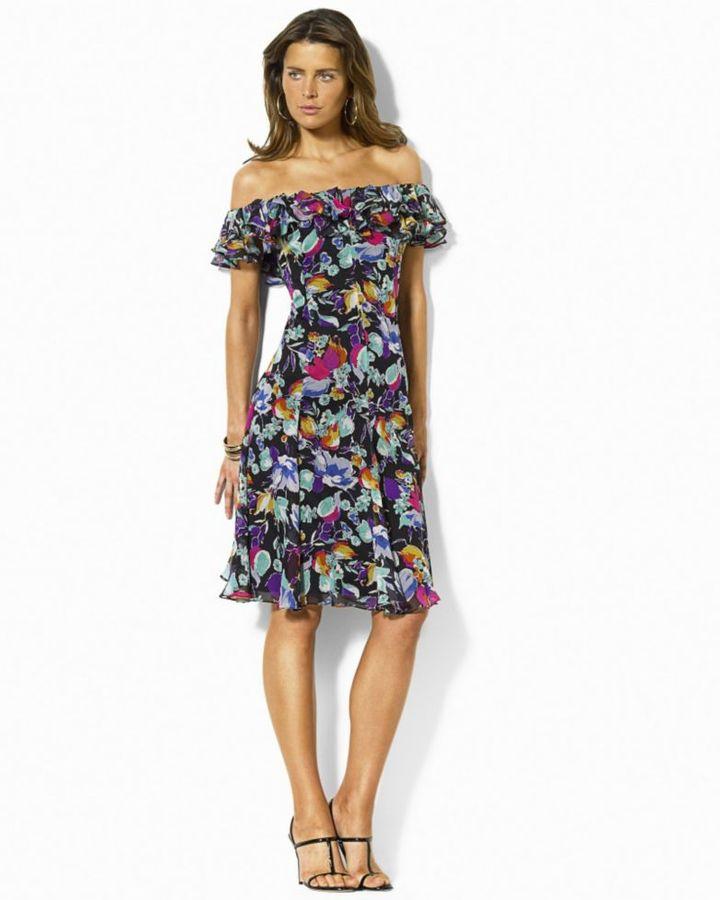 Lauren by Ralph Lauren Liberty Off-the-Shoulder Printed Dress