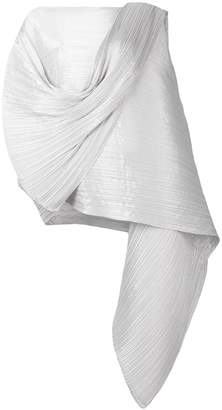 Pleats Please Issey Miyake pleated effect draped blouse