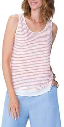 NYDJ Stripe Contrast Hem Tank Linen Top