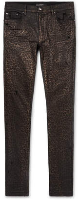 Amiri Skinny-Fit Metallic Leopard-Print Coated Stretch-Denim Jeans
