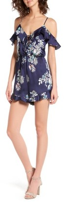 Women's Lush Ruffle Satin Cold Shoulder Romper $49 thestylecure.com