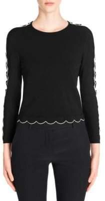 Alexander McQueen Scallop Trim Three-Quarter Sleeve Sweater