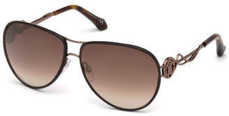 Roberto Cavalli Intertwining Gradient Aviator Sunglasses, Brown