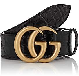 Gucci Men's GG Buckle Crocodile Belt - Black