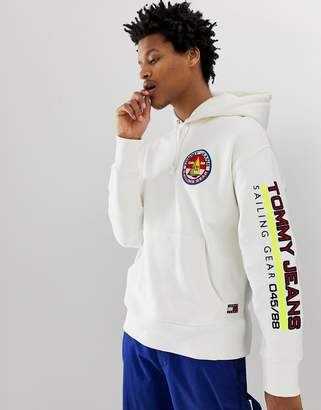 9c48dd0a Tommy Jeans 90s Sailing Capsule back and sleeve logo hoodie in white