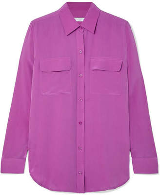 Equipment Slim Signature Washed-silk Shirt - Magenta