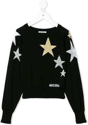 Moschino Kids TEEN star print jumper