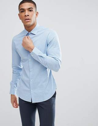 Moss Bros Extra Slim Smart Shirt In Gingham Check
