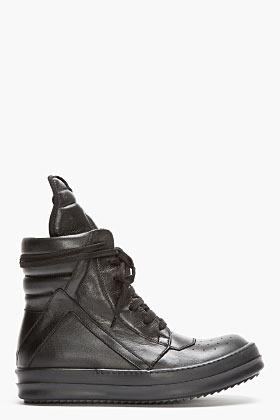 Rick Owens Black Leather Geobasket Sneakers