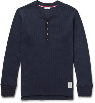 Thom Browne Ribbed Cotton Henley T-Shirt $450 thestylecure.com