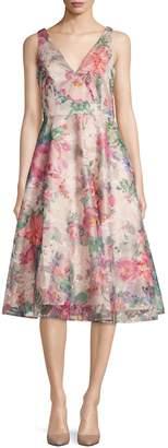 Eliza J Sleeveless V-Neck Floral Dress