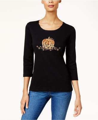 Karen Scott Cotton Embellished Graphic-Print T-Shirt
