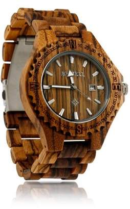 Bewell BEWELL Fashion Zebrawood Wood Wrist Bamboo Watch Night Vision Quartz Men's Wooden watch