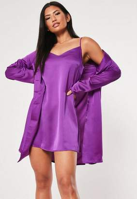 Missguided Better Together Purple Cami Duo Satin Shirt Dress