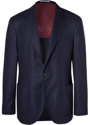 Brunello Cucinelli Navy Unstructured Wool, Silk And Cashmere-Blend Blazer