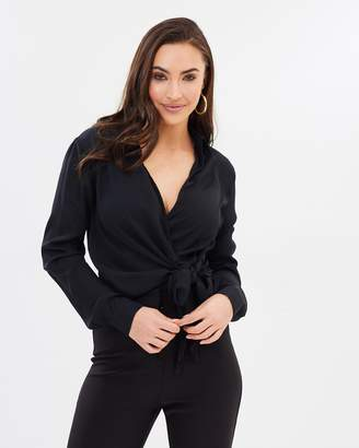 Missguided Wrap Over Tie Side Blouse