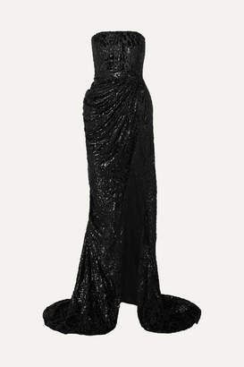 Alex Perry Brooks Strapless Fil Coupe Silk-blend Chiffon Gown - Black