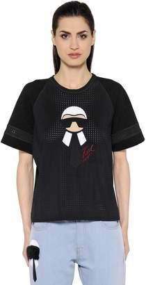 Fendi Printed Techno Mesh & Jersey T-Shirt