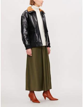 Maje Batou faux fur-trimmed leather jacket