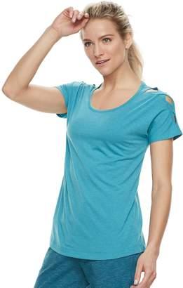 Tek Gear Women's Lattice Shoulder Short Sleeve Tee
