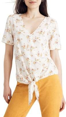 Madewell Windowbox Floral Tie Front Top