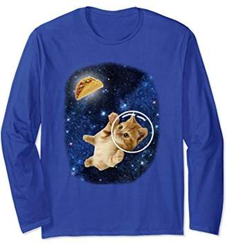 Crazy Space Kitty Cat and Taco Long Sleeve T-Shirt