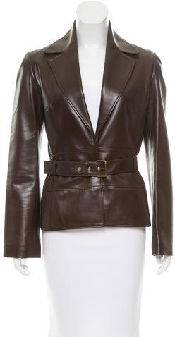 CelineCéline Leather Belted Blazer