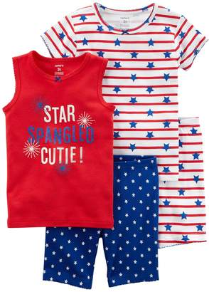 "Carter's Girls 4-12 Star Spangled Cutie"" American Flag Tops & Shorts Pajama Set"