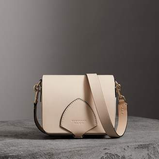 Burberry The Square Satchel in Leather, Beige