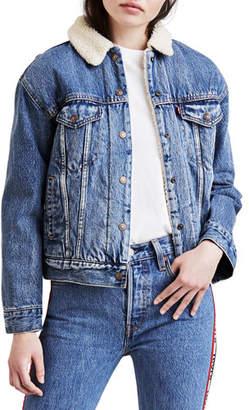 Levi's Premium Ex-Boyfriend Denim Trucker Jacket w/ Faux-Fur Lining