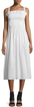 Maison Margiela Gathered Poplin Midi Dress, Off White $395 thestylecure.com