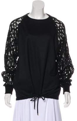 Chloé Lace-Accented Crew Neck Sweatshirt