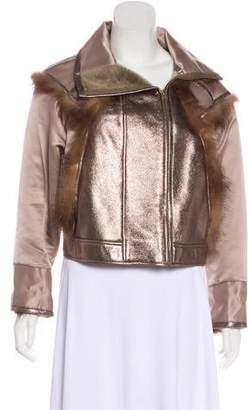 Oscar de la Renta Fur-Trimmed Moto Jacket