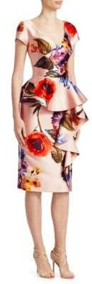 David Meister Peplum Floral Cocktail Dress