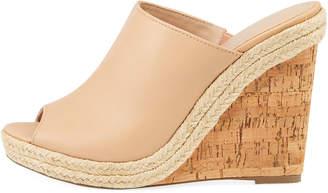 Charles by Charles David Balen Leather Cork-Wedge Slide Sandal