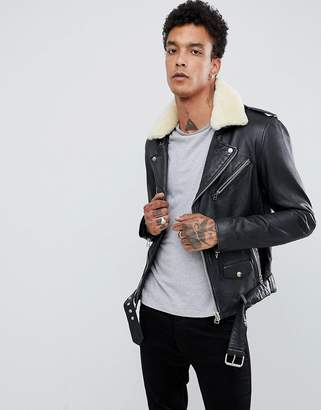 Goosecraft Leather Biker Jacket with Faux Fur Collar