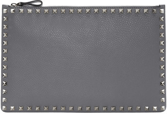Valentino Grey Leather Rockstud Pouch $695 thestylecure.com