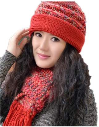 61213c74c24 shopinmall Winter Women Middle-aged Warm Knitted Wool Hat Scarf Set