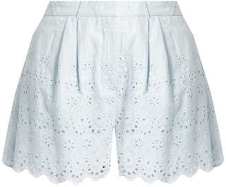 Zimmermann Broderie-anglaise cotton and silk-blend shorts