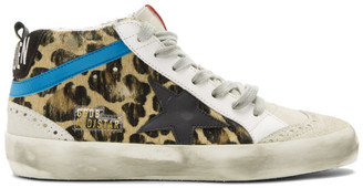 Golden Goose Black and Brown Leopard Pony Mid Star Sneakers