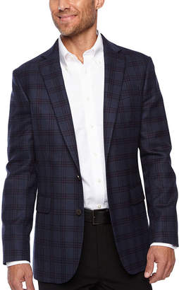 STAFFORD Stafford Merino Wool Stretch Slim Fit Blue Plum Check Sport Coat