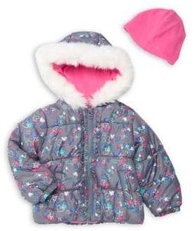 London Fog Little Girl's Printed Faux Fur Hooded Jacket and Winter Hat Set.