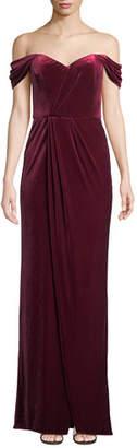 Parker Black Samira Sweetheart Off-the-Shoulder Velvet Column Gown