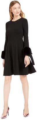 Calvin Klein Faux-Fur-Cuff Fit & Flare Dress