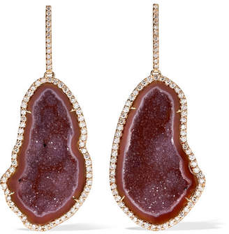 Kimberly McDonald - 18-karat Rose Gold, Geode And Diamond Earrings