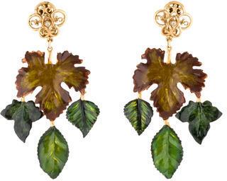 Dolce & GabbanaDolce & Gabbana Lacquered Leaf Chandelier Earrings