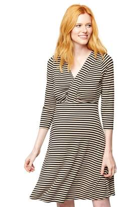 A Pea in the Pod Pleated Striped V Neck Maternity Dress