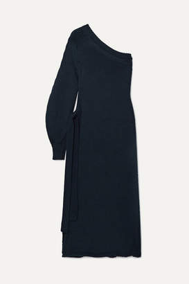 Rosetta Getty One-shoulder Wrap-effect Knitted Tunic - Midnight blue