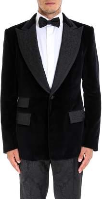 Dolce & Gabbana Velvet Brocade Tuxedo Blazer